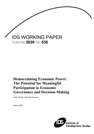 Democratising Economic Power : The Potential for Meaningful Participation in Economic Governance and Decision-Making